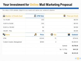 Your Investment For Online Mail Marketing Proposal Ppt Powerpoint Slides