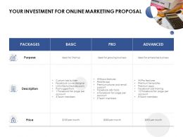 Your Investment For Online Marketing Proposal Purpose Ppt Slides