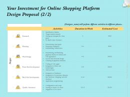Your Investment For Online Shopping Platform Design Proposal Planning Ppt Icon Sample