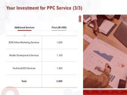 Your Investment For PPC Service Ppt Powerpoint Presentation Outline Gridlines