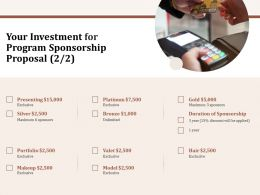 Your Investment For Program Sponsorship Proposal L1569 Ppt Powerpoint Templates