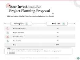 Your Investment For Project Planning Proposal Ppt Powerpoint Presentation Visual Aids Pictures