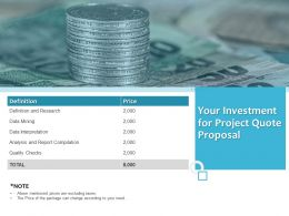 Your Investment For Project Quote Proposal Ppt Powerpoint Presentation Gallery