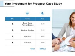 Your Investment For Prospect Case Study Service Ppt Powerpoint Slides