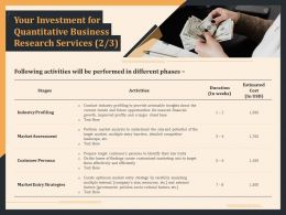 Your Investment For Quantitative Business Research Services Activities Ppt File Brochure