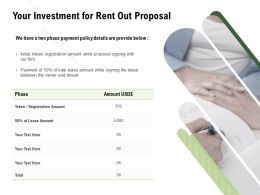 Your Investment For Rent Out Proposal Ppt Powerpoint Presentation Infographics Graphics