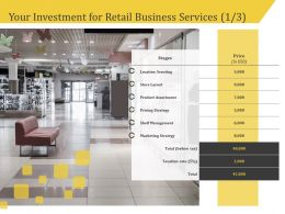Your Investment For Retail Business Services Scouting Ppt Gallery