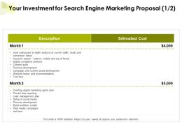 Your Investment For Search Engine Marketing Proposal Ppt Powerpoint Presentation Portfolio