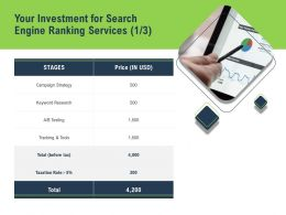 Your Investment For Search Engine Ranking Services Tracking Tools Ppt Powerpoint Presentation Icon