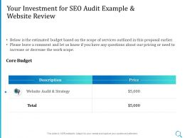 Your Investment For SEO Audit Example And Website Review Ppt Powerpoint Ideas