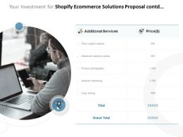 Your Investment For Shopify Ecommerce Solutions Proposal Contd Ppt Powerpoint Presentation Styles