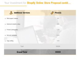 Your Investment For Shopify Online Store Proposal Contd Ppt Powerpoint Presentation Outline Vector