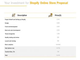 Your Investment For Shopify Online Store Proposal Ppt Powerpoint Presentation Portfolio Inspiration