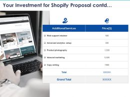 Your Investment For Shopify Proposal Contd Ppt Powerpoint Presentation