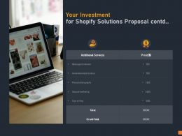 Your Investment For Shopify Solutions Proposal Contd Ppt Powerpoint Presentation Infographic