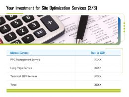 Your Investment For Site Optimization Services Technical Ppt File Aids