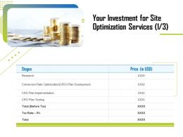 Your Investment For Site Optimization Services Testing Ppt File Topics