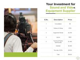 Your Investment For Sound And Video Equipment Supplier Ppt Powerpoint Presentation Ideas