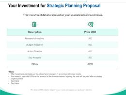 Your Investment For Strategic Planning Proposal Ppt Powerpoint Show Vector