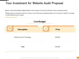 Your Investment For Website Audit Proposal Ppt Powerpoint Presentation Visual Aids Icon