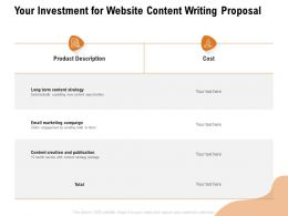 Your Investment For Website Content Writing Proposal Ppt Powerpoint Presentation Model Objects