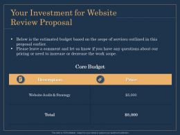 Your Investment For Website Review Proposal Price Ppt File Example
