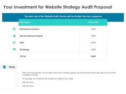 Your Investment For Website Strategy Audit Proposal Performance Analysis Ppt Powerpoint Slides