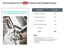Your Investment For You Tube Promotion And Handing Proposal Ppt Slides