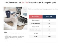 Your Investment For Youtube Promotion And Strategy Proposal Ppt Slides