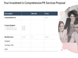 Your Investment In Comprehensive PR Services Proposal Ppt Gallery Slide