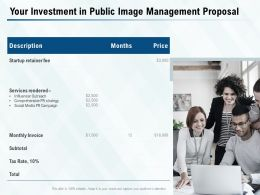 Your Investment In Public Image Management Proposal Ppt Powerpoint Presentation