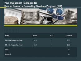 Your Investment Packages For Human Resource Consulting Services Proposal Ppt Tips
