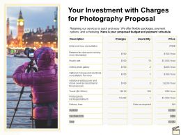Your Investment With Charges For Photography Proposal Ppt Powerpoint Presentation