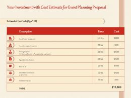 Your Investment With Cost Estimate For Event Planning Proposal Ppt Powerpoint Icon