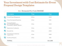 Your Investment With Cost Estimate For Event Proposal Design Templates Ppt Infographics