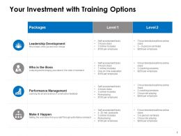 Your Investment With Training Options Ppt Powerpoint Presentation File Show