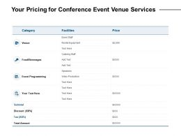 Your Pricing For Conference Event Venue Services Ppt Powerpoint Presentation Styles Clipart