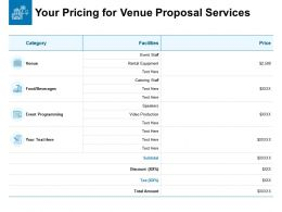 Your Pricing For Venue Proposal Services Ppt Powerpoint Layouts Outline