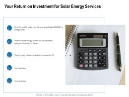 Your Return On Investment For Solar Energy Services Ppt Powerpoint Presentation Background