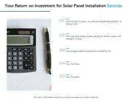 Your Return On Investment For Solar Panel Installation Services Ppt Slides