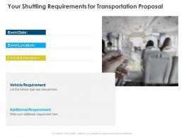 Your Shuttling Requirements For Transportation Proposal Ppt Powerpoint Slides Deck