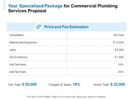 Your Specialized Package For Commercial Plumbing Services Proposal Ppt Powerpoint Presentation Show