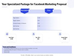 Your Specialized Package For Facebook Marketing Proposal Ppt Powerpoint Presentation Inspiration Mockup