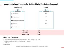 Your Specialized Package For Online Digital Marketing Proposal Ppt Powerpoint Presentation Ideas