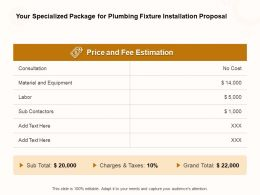 Your Specialized Package For Plumbing Fixture Installation Proposal Ppt Powerpoint Presentation