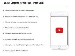 Youtube Investor Funding Elevator Pitch Deck Table Of Contents For Youtube Pitch Deck Business Ppt Visual Aids