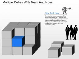 Yq Multiple Cubes With Team And Icons Powerpoint Template