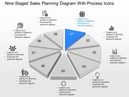 Yr Nine Staged Sales Planning Diagram With Process Icons Powerpoint Template