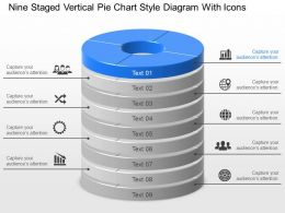 Ys Nine Staged Vertical Pie Chart Style Diagram With Icons Powerpoint Template