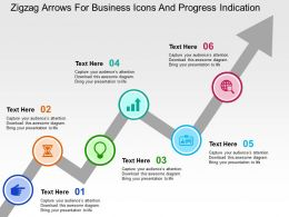 Zigzag Arrows For Business Icons And Progress Indication Flat Powerpoint Design